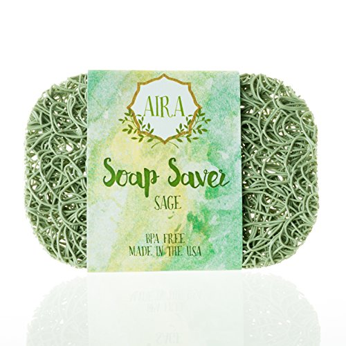 Aira Soap Saver - Soap Dish & Soap Holder Accessory - BPA Free Shower & Bath Soap Holder - Drains Water, Circulates Air, Maximizes Soap Life - Easy to Clean, Fits All Soap Dish Sets - Sage - Bronze Sage Glass