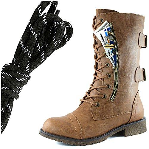 Dailyshoes Donna Militare Allacciatura Fibbia Da Combattimento Stivali Mid Knee Alta Esclusiva Tasca Per Carte Di Credito, Nero Bianco Sottile Abbronzatura