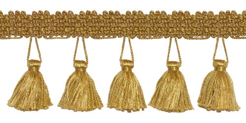 DÉCOPRO 10 Yard Value Pack of 2.5 Inch Tassel Fringe Trim, Style# ETF Color: Gold - C4 (30 Ft / 9.1 Meters)