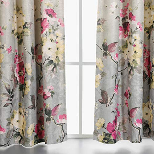 (MYSKY HOME Floral Design Print Grommet top Thermal Insulated Faux Linen Room Darkening Curtains, 52 x 95 Inch, Red and Pink, 1 Panel)