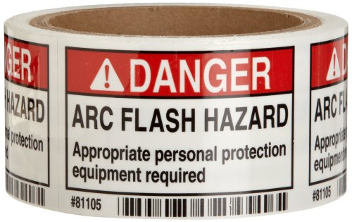 "Brady 81105 3"" Width x 2"" Height, B-302 High Performance Polyester, Black and Red on White Danger Arc Flash Label, 100 per Roll"