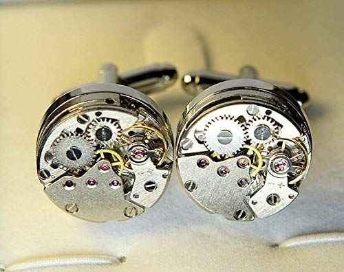 RXBC2011 Upgraded Version Deluxe Steampunk Watch Mens Vintage Watch Movement Shape Cufflinks Come in an Elegant Storage Display Box (with GIFTBOX) by RXBC2011 (Image #1)