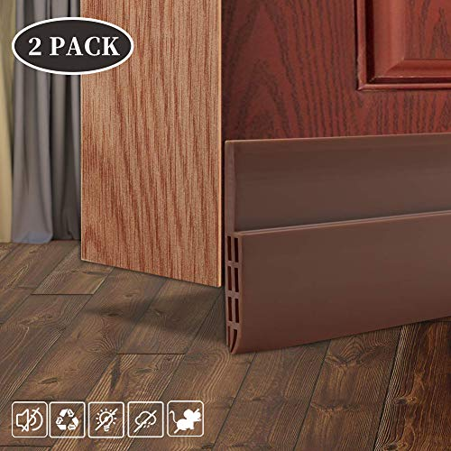 2 Pack Door Draft Stopper Under Door Seal for Exterior/Interior Doors, Door Sweep Strip Under Door Draft Blocker, Soundproof Door Bottom Weather Stripping, 2