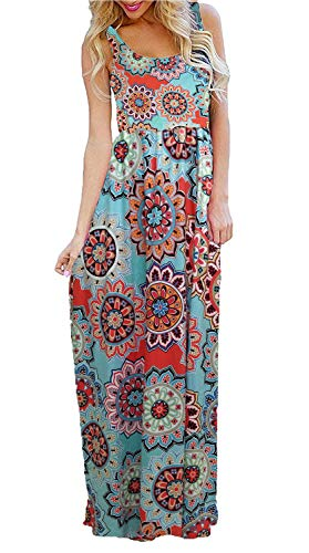 BLUETIME Women's Summer Sleeveless Bohemian Floral Empire Waist Flowy Beach Maxi Long Dresses with Pockets (Orange Blue, S) ()