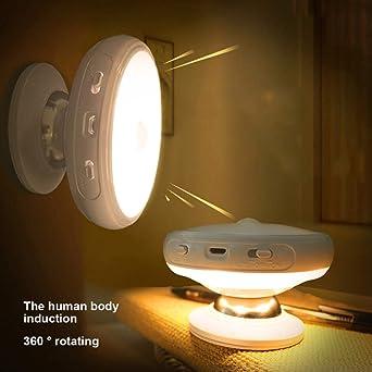 Luz Nocturna LED para Niños con Sensor de Movimiento - Lámpara Recargable con USB que se
