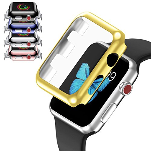 Price comparison product image Boofab Apple Watch Case 38mm,  Ultra-Slim Electroplate PC Hard Case Cover Protective Bumper Cover for All Versions 42mm Apple Watch Series 3 / Series 2 Sport & Edition (Black)