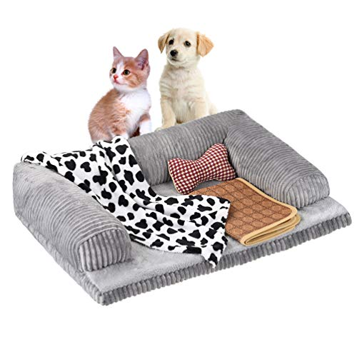 Petacc Dog Bed Plush Sofa-Style Couch Pet Bed for Dogs & Cats Detachable Dog Sofa Dog Lounge with Trilateral Bolster and Anti-Slip Bottom, Equipped with Blanket, Cloth Toy and Summer Sleeping Mat