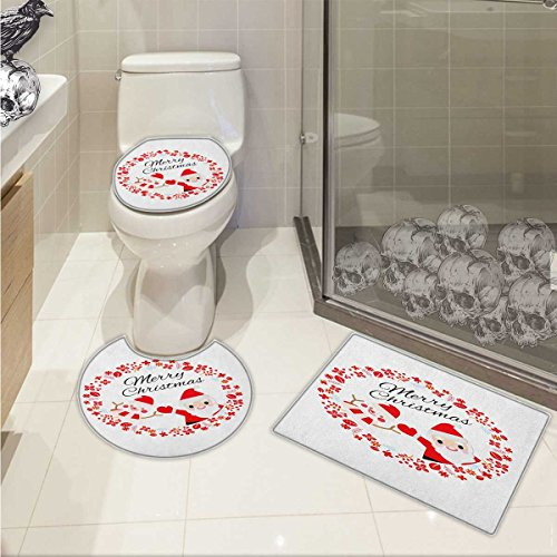lacencn Christmas 3 Piece Toilet mat set Merry Christmas Lettering Happy Day Santa Claus and Snowman Card Noel Printed Rug Set Red Pink and White