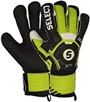 Select Sport Select 33 Hard Ground Goalkeeper Gloves with Finger Protection, Black/Green, Size 10