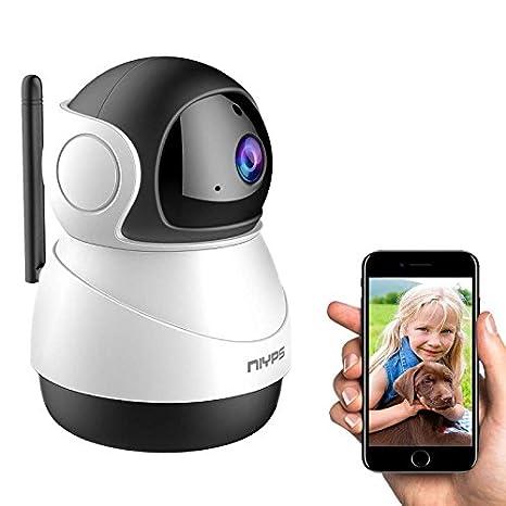 Wlan Wifi IP Kamera Weitwinkel, NIYPS 1080P Full HD kleine Ü berwachungskamera mit Bewegungserkennung und Infrarot Nachtsicht, 2 Wege Audio, Innen Sicherheitskamera fü r Haustier Babyphone und Nanny Cam