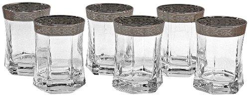 Lorenzo Silver Border Rocks Glass, Set of 6