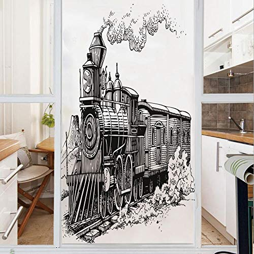 Decorative Window Film,No Glue Frosted Privacy Film,Stained Glass Door Film,Rustic Old Train in Country Locomotive Wooden Wagons Rail Road with Smoke,for Home & Office,23.6In. by 59In Black and White