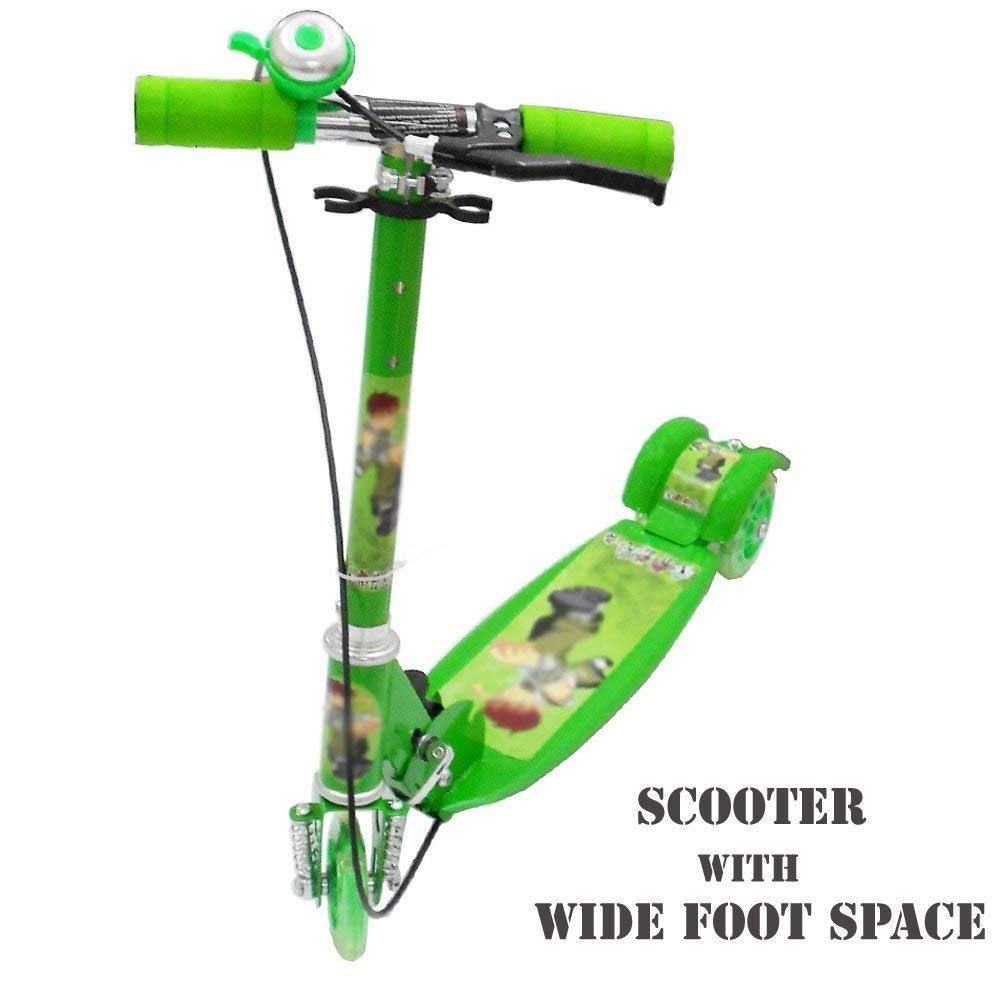 Magnifico 3 Wheel Scooter With Hand Foot Brake Bell Height Cozy Trike Wiring Diagram For Adjustable Fold Able Led Lights On Boys Girls Green