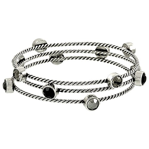 Falari Austrian Crystal Silvertone 3 Piece Stackable Bangle Black Diamond, Jet & (Diamonds Vintage Bangle)