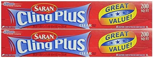 Saran Wrap Cling Plus Wrap 200 sq.', Boxed, Pack of two