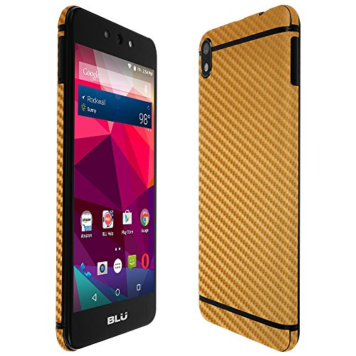 (Blu Grand M2 Screen Protector + Gold Carbon Fiber Full Body, Skinomi TechSkin Gold Carbon Fiber Skin for Blu Grand M2 with Anti-Bubble Clear Film Screen)