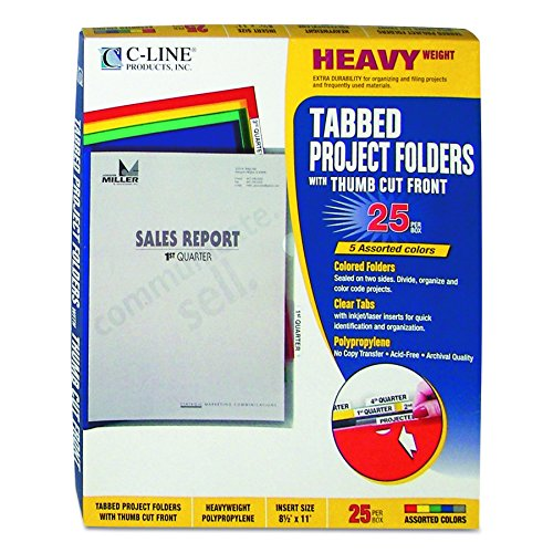 Poly Index Tabs (C-Line Colored Project Folders with Index Tabs, Heavyweight Poly, Holds Materials up to 8.5 x 11 Inches, Assorted Colors, 25 per Box (62140))