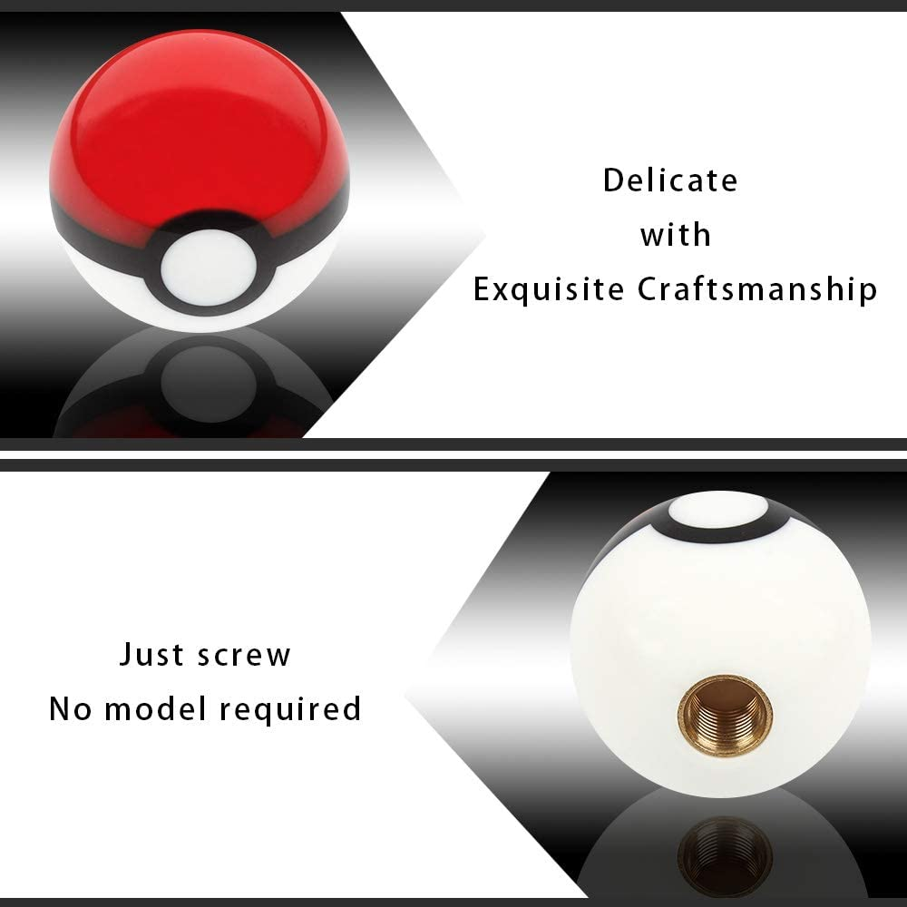Universal Replacement with 3 Adapters WEINAER Shift Knob Universal Ball Shift Knobs Pokeball Shape Gear Shifter Head