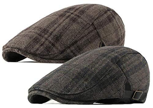 (Qunson 2 Pack Mens Tweed Wool Blend Flat Cap Ivy Gatsby Newsboy Hat)
