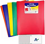 C-Line 2 Pocket Heavyweight Poly Portfolio with Prongs, Letter Size, 5 Pack with One of Each Color Plus Bonus Custom AdvantageOP Bookmark/Magnifier/Ruler