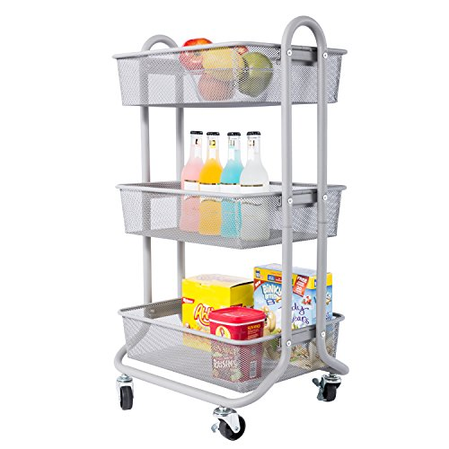 DESIGNA 3-Tier Metal Mesh Rolling Storage Cart with Utility Handle, Ideal for Bedroom Kitchen Bathroom Garage Office Arts and Crafts or Nursery, Grey (Cart Well)