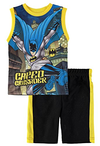 Superhero Boys' Batman Superman Spiderman Tank Top Short Set (Batman/Yellow, 4T) -