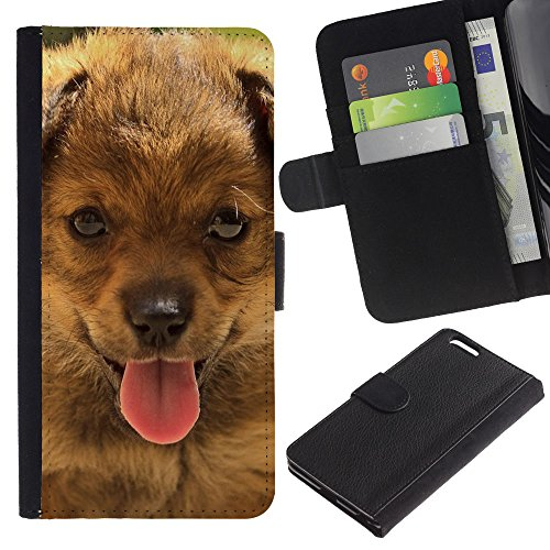 OMEGA Case / Apple Iphone 6 PLUS 5.5 / bernese mountain dog small puppy / Cuero PU Delgado caso Billetera cubierta Shell Armor Funda Case Cover Wallet Credit Card
