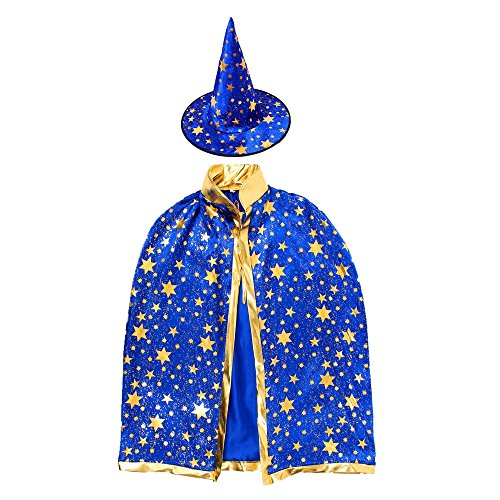 Children Costumes Stars Style for Halloween and Christmas Sorcerer/Witch Costume with Hat and Cloak (Blue Suit With (Wizard And Sorcerer Costumes)