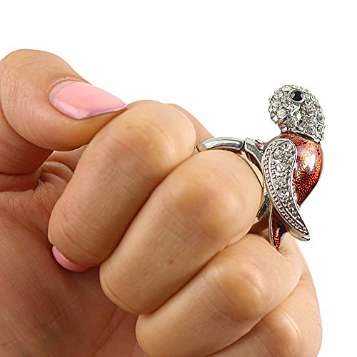 Red Bejeweled Parrot Stretch Ring