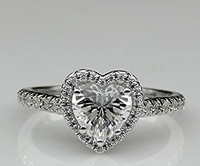 936517af8e314 GOWE Heart Shape 1ct Esdomera Moissanites Color F Halo Prongs 14k ...