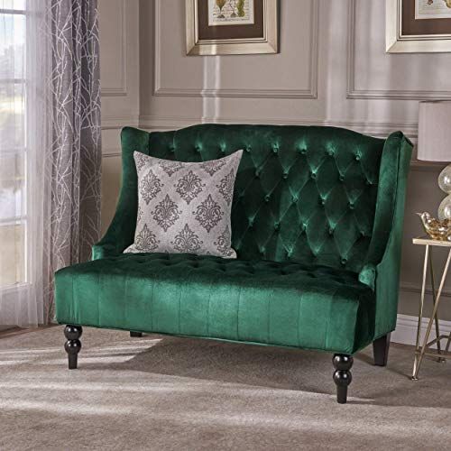 Christopher Knight Home 303354 Leah Traditional Tufted Winged Emerald Velvet Loveseat,