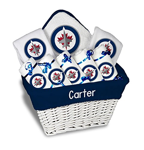 Designs by Chad and Jake Baby Personalized Name Winnipeg Jets Large Gift Basket One Size White
