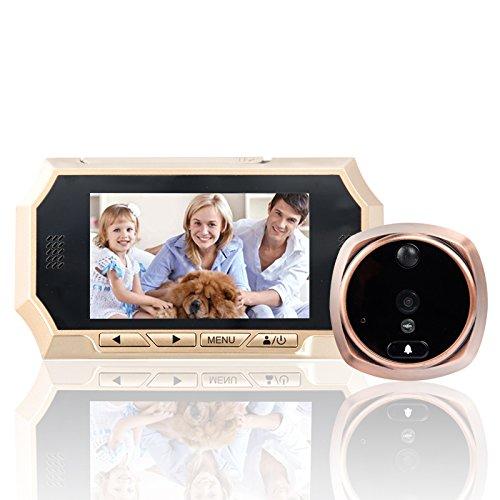 Mirilla de puerta, BW Smart Digital inalámbrico timbre - 300 W píxeles, 720p, 1/4 pulgadas CMOS, visión de 160 grados, pantalla de 4,3 pulgadas, ...