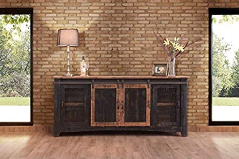 Fully Assembled Shabby Chic Console Burleson Home Furnishings Anton Distressed White Sliding Barn Door Farmhouse 60 Inch Tv Stand with Brown Wood Top and Hand Forged Custom Handles Black, 80