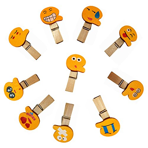 QTMY 20 Pcs Emoji Smiling Face Wooden Clip Hanging Photos with Twine Decoration Supplies Favors (Differnt Nuts)