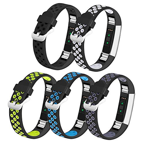 iHillon Compatible with Fitbit Alta (HR)/ Fitbit Ace Bands, 5-Pack Two-Toned Breathable Sport Strap with Metal Buckle Compatible with Fitbit Alta/ Alta Hr/ Fitbit Ace for Women Men, -