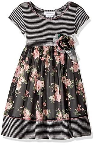 Bonnie Jean Toddler Girls' Knit to Challis Print Dress, Black/Pink Floral, 4T - Girls Pink Floral Denim