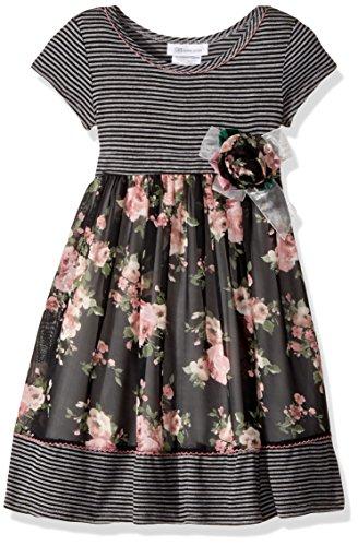 Bonnie Jean Girls' Toddler Knit to Challis Print Dress, Black/Pink Floral, 4T