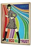 Tin Sign XXL Retro In mod we trust women dress plaid colorful stripes 1967