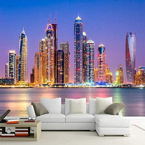 3D壁壁画壁紙美しい海市夜景リビングルームテレビ背景壁紙写真壁画装飾-200x140cm