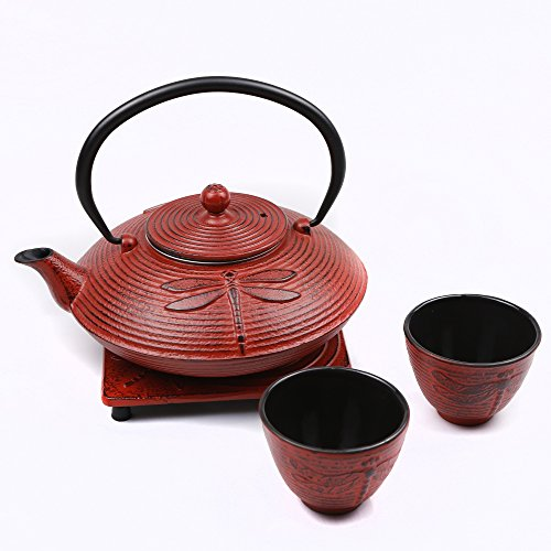 Cuisiland Dragonfly Cast Iron Teapot Set with 2 Cups 27oz Red
