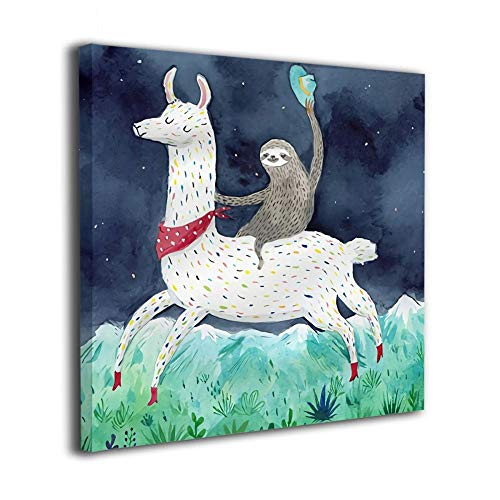 (Janvonne Canvas Wall Art Sloth Riding Llama Decor Frameless Oil Paintings Pictures Modern Decorations For Living Room Bedroom Bathroom Home Decor)