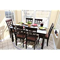 7 pc Espresso Brown 6 Person Table and Chairs Brown...