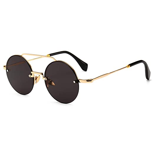59fe4163923b Half Frame Sunglasses Women Round Rimless Sun Glasses For Men Retro Fashion  (gold with black