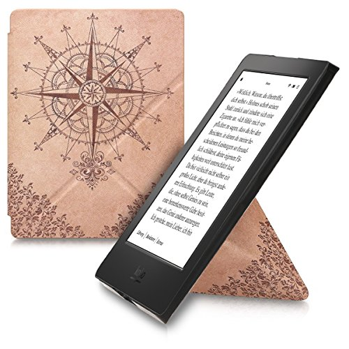 kwmobile Cover case for Kobo Aura H2O Edition 2 with stand - Ultra slim case made of synthetic leather Baroque Compass in dark brown beige -