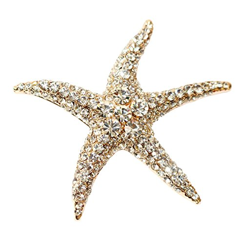 (Navachi 18k Gold Plated White Crystal Starfish Az7199b Brooch Pin)