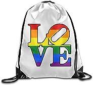 VOLTE Love Rainbow Lesbian Gay Pride LGBT Drawstring Bags Hiking White Backpack Sport Bag For Men & Women