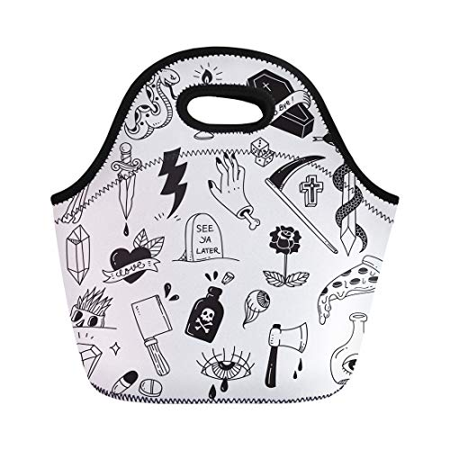 (Semtomn Lunch Tote Bag Snake Various Tattoo Doodle White Diamond Dice Drawing Grave Reusable Neoprene Insulated Thermal Outdoor Picnic Lunchbox for Men Women)