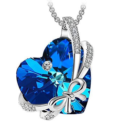 ZIOZIA Necklaces for Women Made with Blue Swarovski Crystal Love Heart Pendant Fine Jewelry for Girls Gifts for Girlfriend and Mom