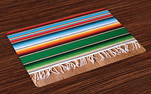 (Lunarable Mexican Place Mats Set of 4, Boho Serape Blanket with Horizontal Stripes and Lines Authentic Cultures Picture, Washable Fabric Placemats for Dining Room Kitchen Table Decoration, Multicolor)
